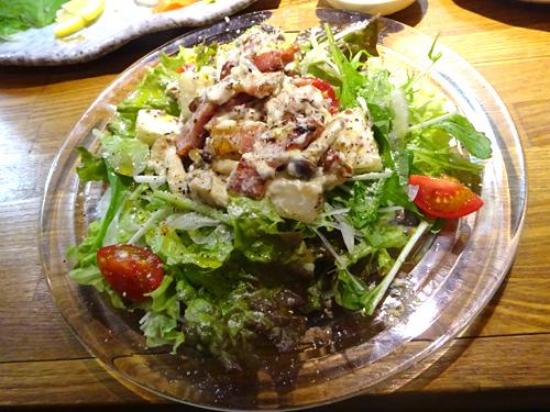 05キノコと長イモとベーコンのサラダ
