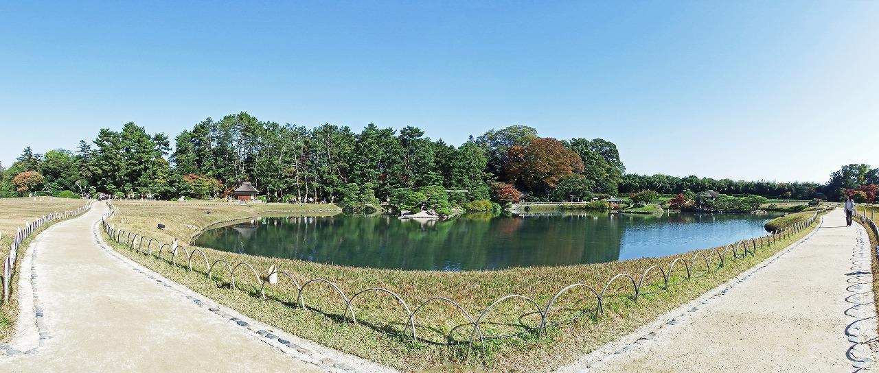 s-20141111 後楽園今日の園内沢の池の様子ワイド風景 (1)