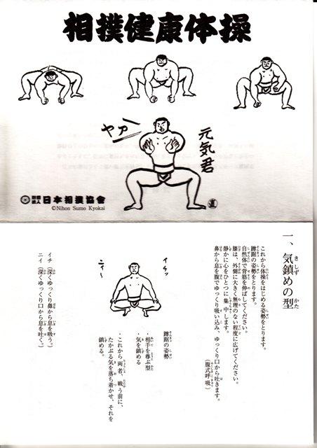 相撲体操の説明リーフレットの一部 元気になりそうですね