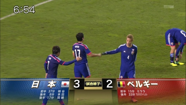 日本代表、ベルギーに3-2逆転勝利!世界ランク5位に勝ち切る!!