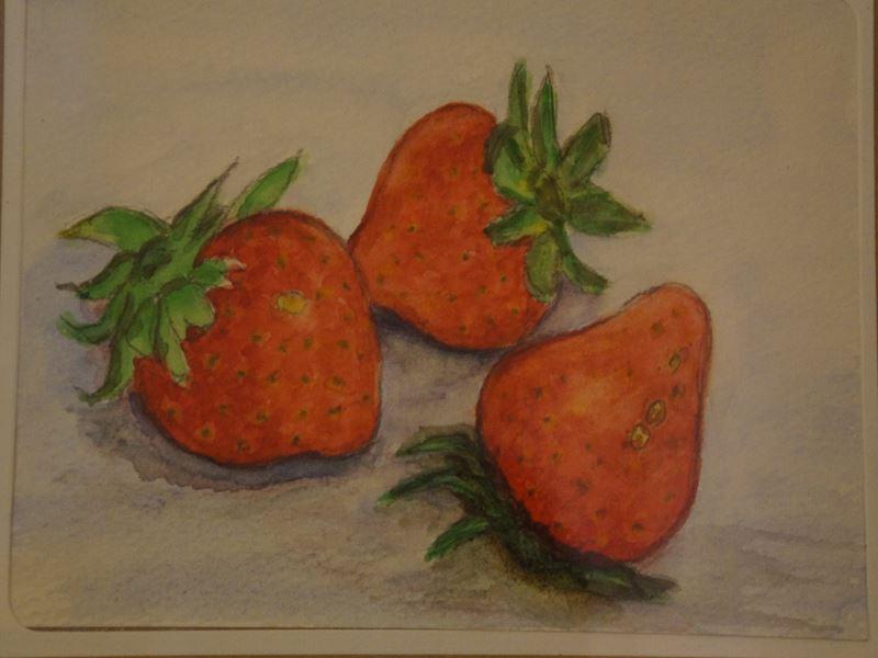 苺の水彩画