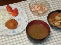 9/14 夕食 チキンカツ、海老ともやしのエスニックサラダ、蓮根のきんぴら、枝豆のみそ汁