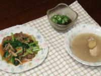 10/8 夕食 牛肉とタアサイのオイスター炒め、手羽先と生姜のスープ、オクラもずく酢