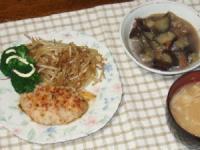 10/10 夕食 タコエビイカの豆腐バーグ、茄子と油麩の煮物、エノキのみそ汁