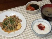 10/20 夕食 豚と空芯菜新芽の玉子炒め、キムチもずく酢、しじみのみそ汁