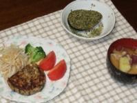 11/8 夕食 豆腐ひじきハンバーグ、アボカド納豆、薩摩芋と豚肉のみそ汁