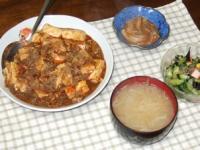 2/24 麻婆豆腐、春雨サラダ、自家製塩辛、もやしの味噌汁