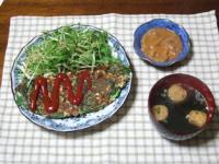 3/6 夕食 納豆とニラのオムレツ、塩辛、ピリ辛麩入りワカメスープ