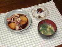 5/12 夕食 イカじゃが、冷奴、水菜と揚げの味噌汁
