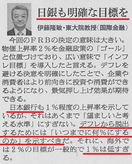 伊藤隆敏 インフレ・ターゲット