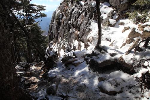山頂直下まで氷付いた路面を攀じ登った