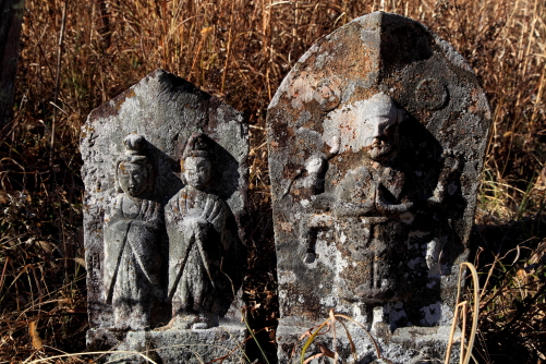 伊那市長谷浦集落の野辺に佇む道祖神