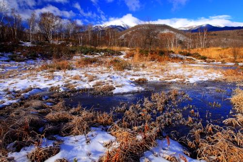 凍てつく湿原と乗鞍岳