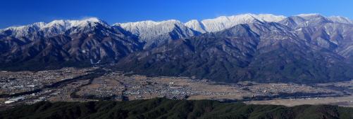 中央アルプス高山帯の峰々がすべて視野の中