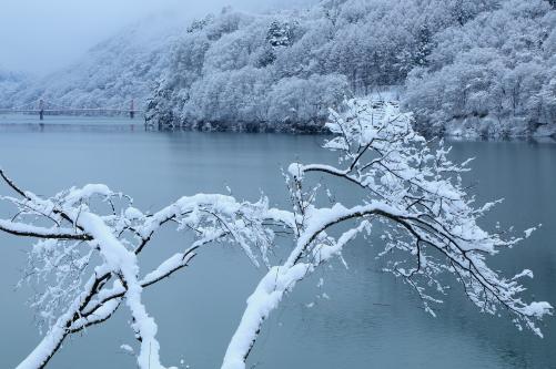 美和ダム湖の雪景色