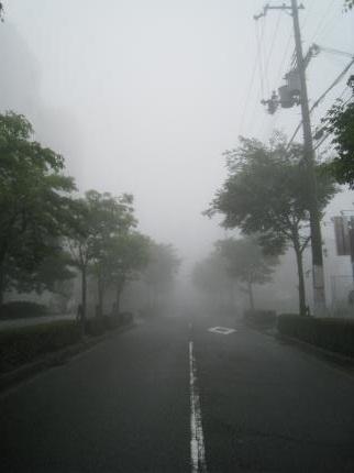 霧にかすむ町