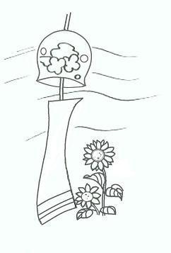 $ピグ攻略初心者講座・ぬりえ・便箋・イラスト・レターセット無料ダウンロード・ぬりえ講座・ペイント講座・all無料-風鈴とひまわり