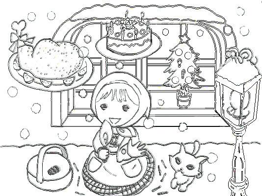 ピグ攻略・2011年賀状素材・2011カレンダー無料ダウンロード・ぬりえ・ペイントall無料-マッチ売りの少女 ぬりえ
