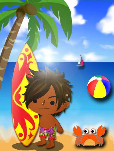 $便箋  無料ダウンロード・桜のレターセット・バレンタインカード・グリーティングカード・ぬりえ無料★オリジナルはall無料ブログラバー-夏の海のサーファー