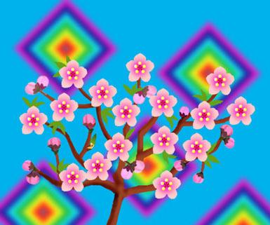便箋  無料ダウンロード・桜のレターセット・バレンタインカード・ぬりえ・グリーティングカード・イラスト無料★all無料ブログラバー-桃の花イラストミニ