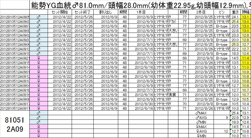 飼育管理表 2012-13 810x51 2A09 2本目