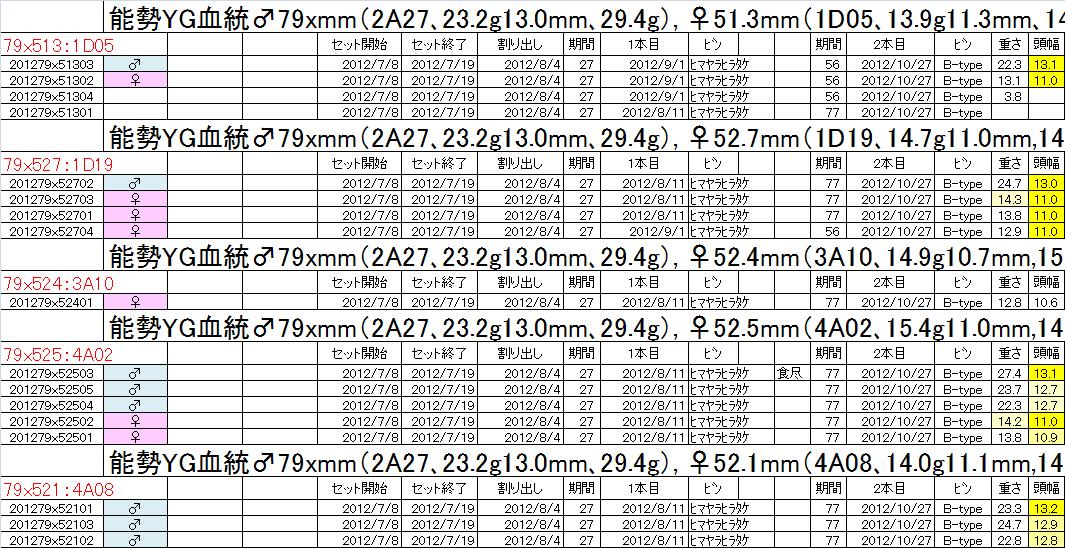 飼育管理表 2012-13 binnon79x 2本目