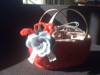 羊毛 赤いかご
