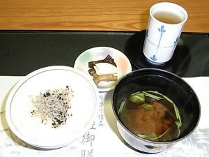 068神無月の献立 お食事・止め椀・香の物