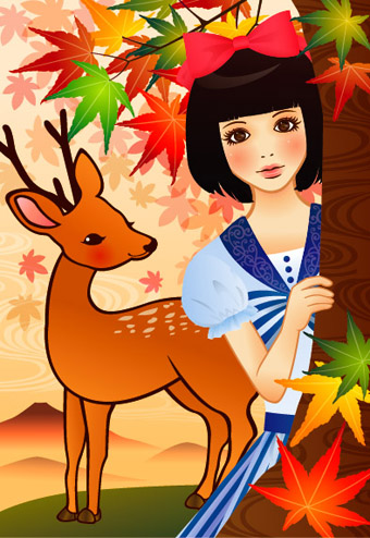 紅葉に鹿2