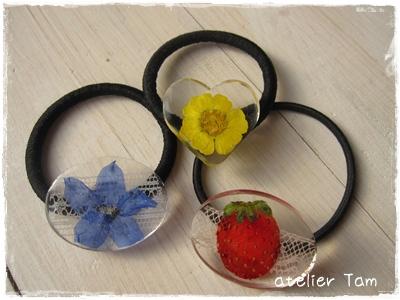 樹脂ヘアゴム・押し花