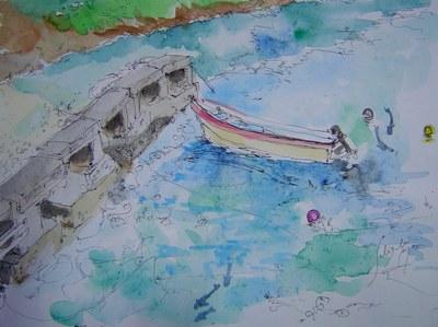 祖納桟橋とボート