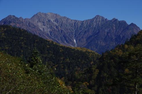 安房峠から見た西穂高岳、奥穂高岳、吊り尾根、前穂高岳