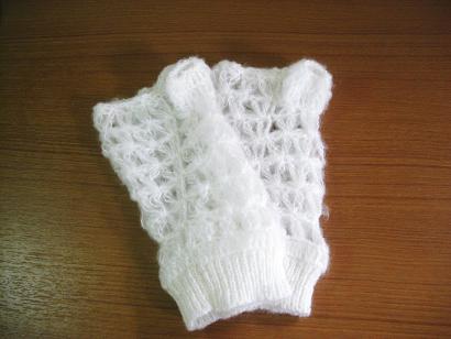 ニット指なし手袋すかし網B品5
