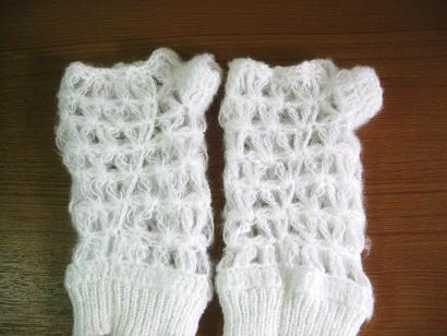 ニット指なし手袋すかし網B品7