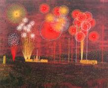 山下清・版画(リトグラフ)・「富田林の花火」