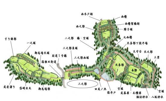 山中城祉縄張り図