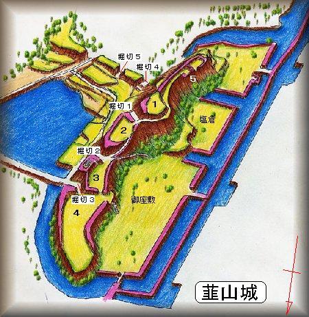 韮山城址縄張り図