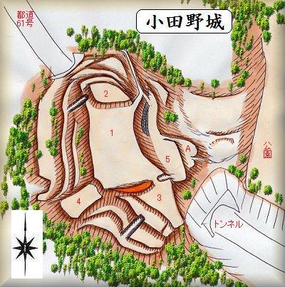 小田野城址縄張り図