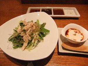 サラダと湯葉