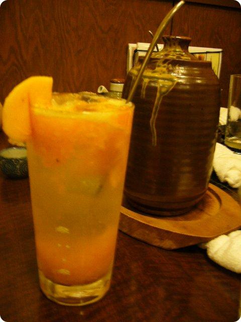 錦 柿サワーと熱燗