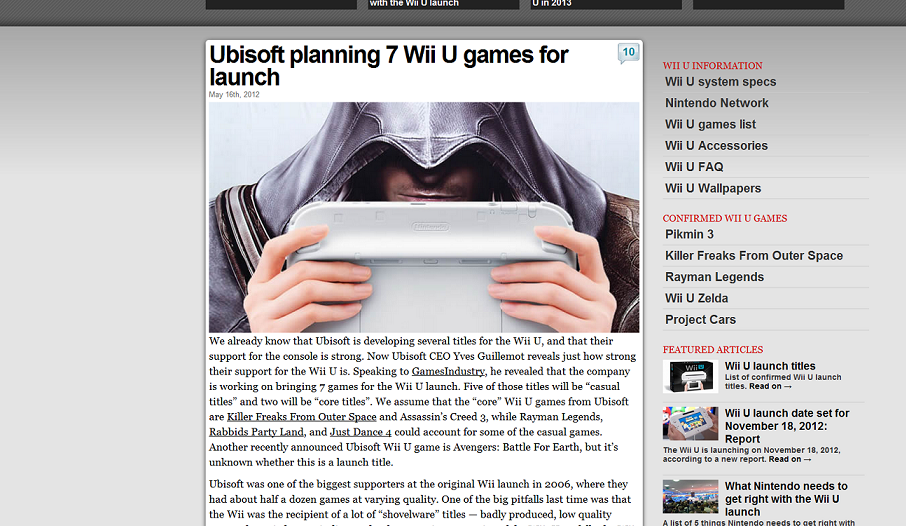 Ubisoft planning 7 Wii U games for launch
