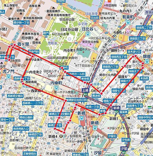 新橋SLスタート経産省銀座中央通りコース