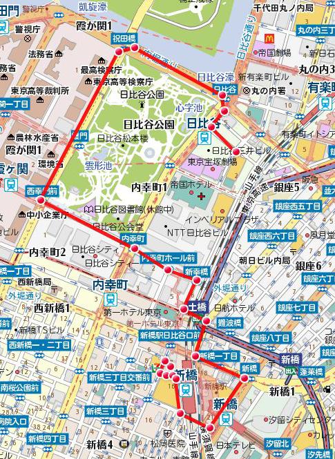 新橋SL広場出発 法務省要請行動コース