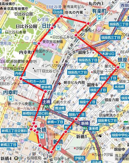 新橋SL広場前スタートコース(ショートバージョン)