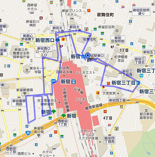 新宿デモコース(ロングバージョン)