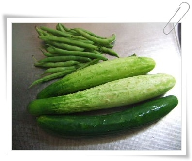 きゅうりと三度豆