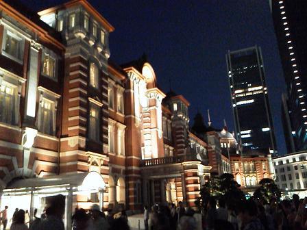 東京駅(丸の内中央口)オープン前ライトアップ