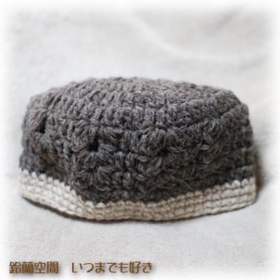 浅目の編み柄帽子立体