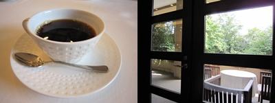 食後のコーヒーと外の景色