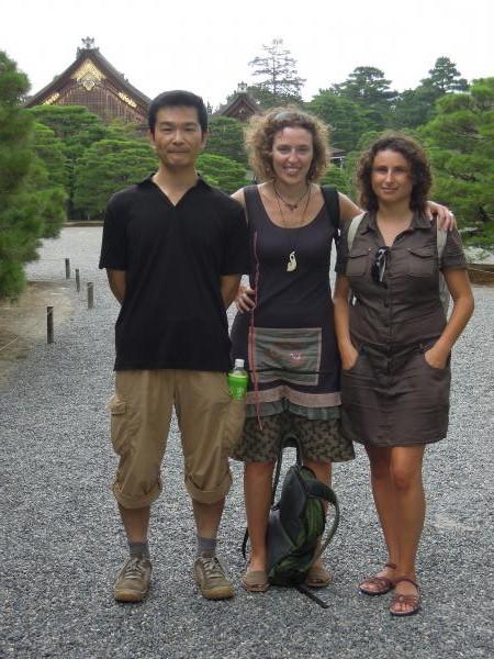 カウチサーフィン(スペイン)、マリアとソレと私。京都御所にて。